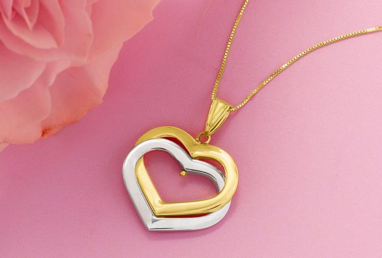 two-tone interlocking hearts necklace