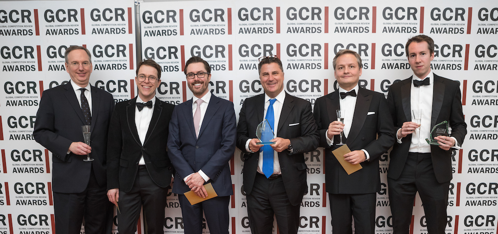 UK air cargo follow-on case wins Litigation of the Year - Cartel Defence Award. L-R: Thomas McGrath, Daniel Beard, James Webber, Ian Simmons, Fredéric Louis and William Turtle.