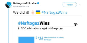 Naftogaz claims victory in gas transit dispute