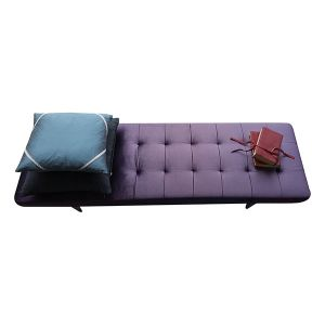 Newly Upholstered Purple Ottoman - London Cushion Company Clapham