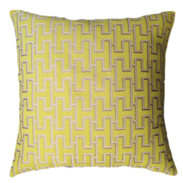 Yellow Geometric Cushion - Silver Pattern On Top 50 x 50 cm