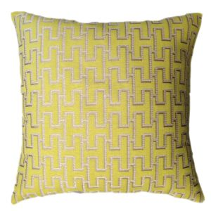 Yellow Geometric Cushion - Silver Pattern On Top 50 x 50 cm