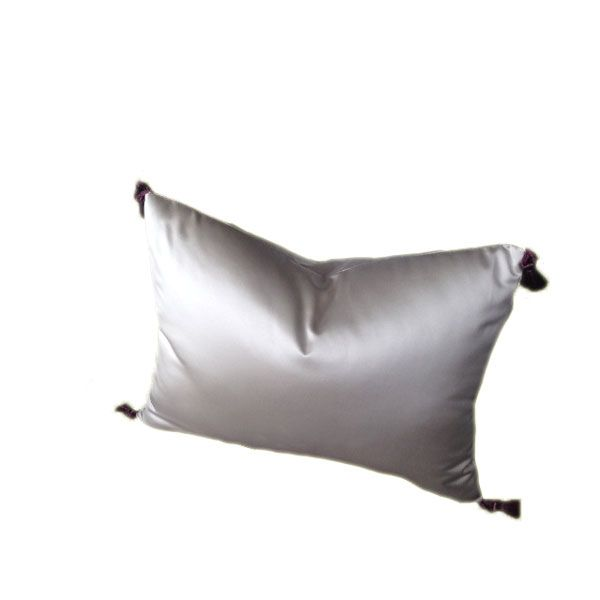 Adorable Shiny Silver Contemporary Cushion with Little Ash Purple Tassels