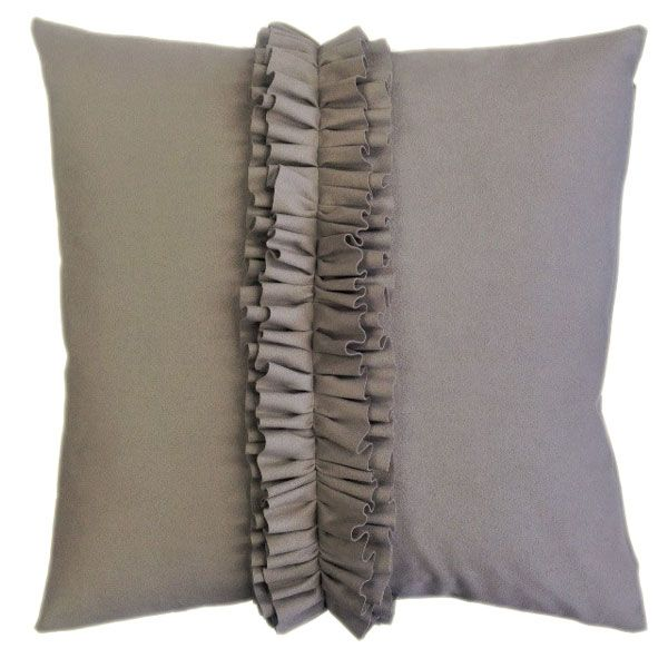 Graceful Ruffle Strap on the Middle of this Soft and Puffy Grey Suede Cushion