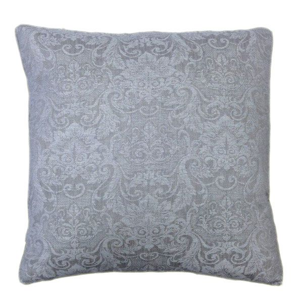 Self Piping Classic Cushion with a Grey Brocade Fabric 50 x 50cm