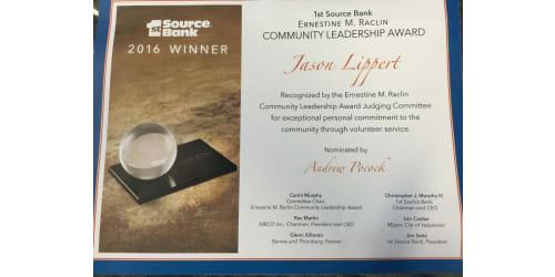 Jason Lippert Awarded Ernestine M Raclin Community Leadership Award