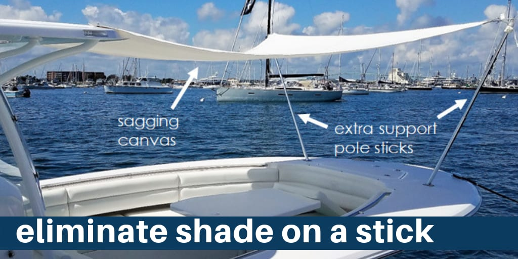 SureShade Eliminates the Shade on a Stick Boat Canopy