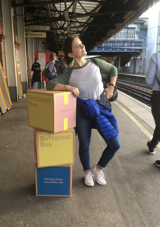 Leaning on a pile of Butternut Boxes