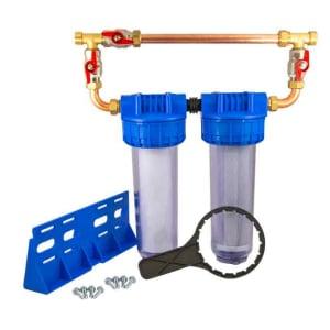 Porte filtre double 9 pouces 3/4 avec kit bypass complet