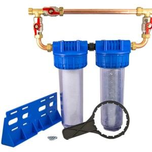Porte filtre double Anti-Calcaire + bypass 9 pouces 3/4