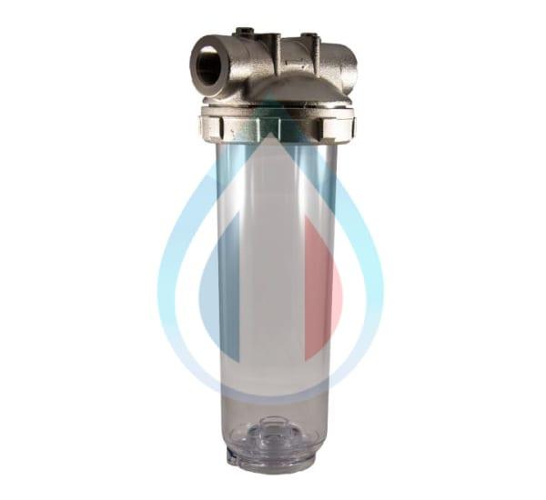 Porte filtre laiton cuve transparente 9 pouces 3/4 - 3/4 pouce