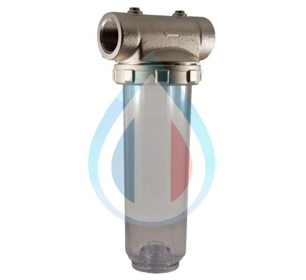 porte filtre laiton cuve transparente 9 pouces 3/4 - 1 pouce 1/4