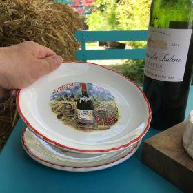 Lot de 6 assiettes à fromage «tour des vins de France»