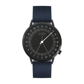 Montre 24H <br /> noire - cuir bleu