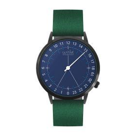 Montre 24H <br /> bleue - cuir vert