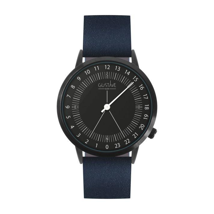 Montre 24H Noire – cuir bleu