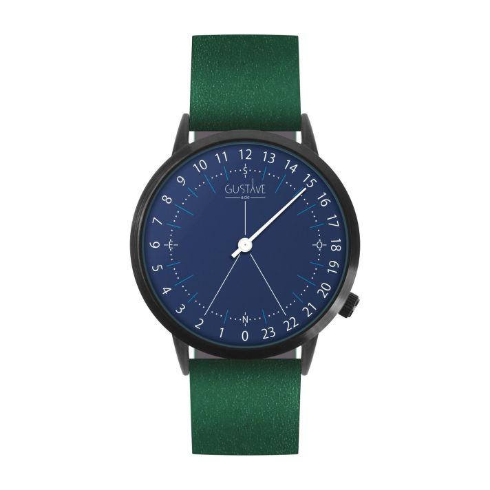 Montre 24H Bleue – cuir vert