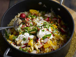Halloween Pumpkin Pilaf with Almonds and Greek Yogurt