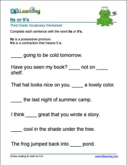 Grade 3 Vocabulary Worksheets by K5 Learning | Learn Vocabulary