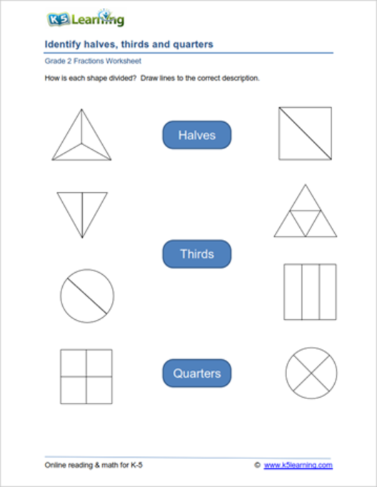 2nd Grade Math Worksheets: Fractions By K5 Learning Learn Fractions