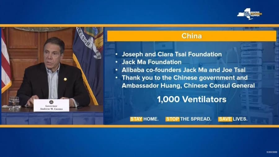 China donates 1,000 ventilators to New York