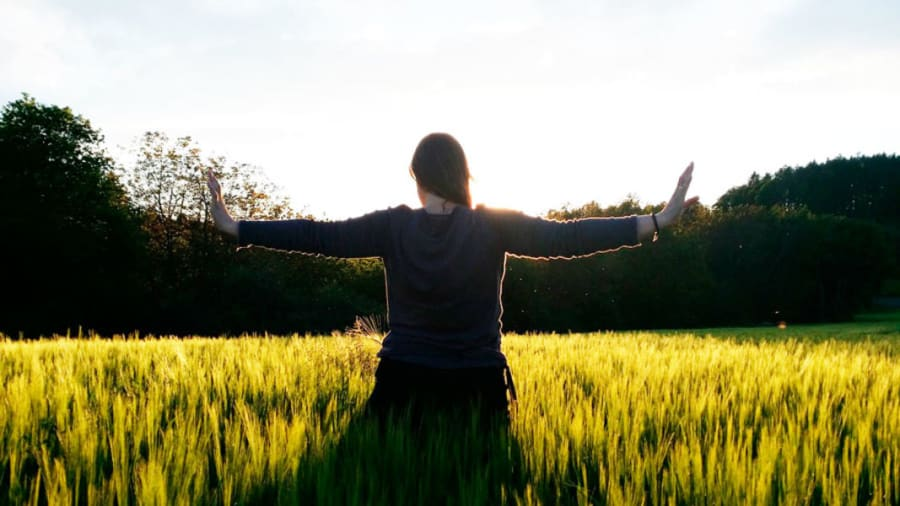 Woman in qi gong pose outside in yellow field under blue sky