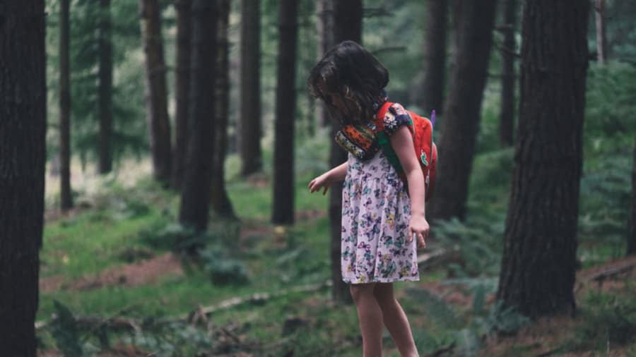 Little girl with short hair wearing a pink floral dress and red backpack exploring the woods and forest