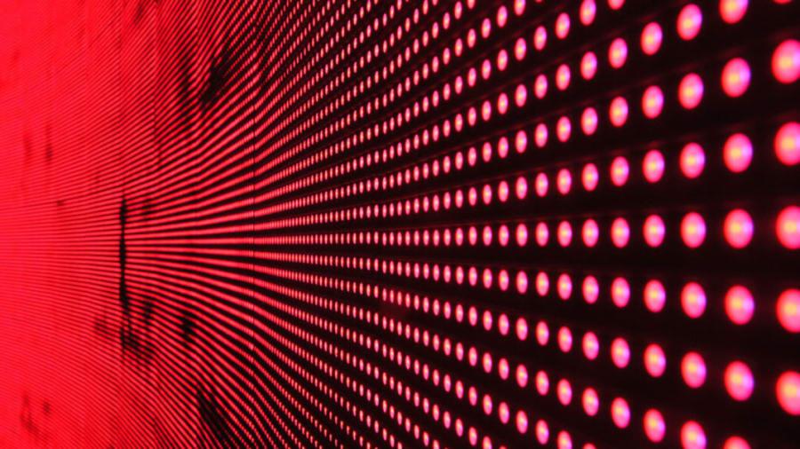 Array of red led lights on black background