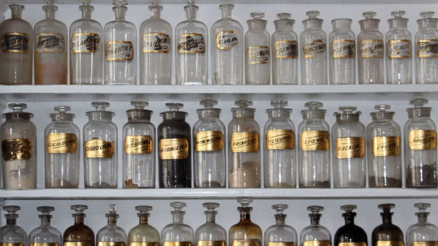 Bottles of homeopathic medicine