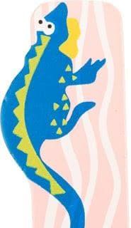 Lettre I en bois rose motif grand iguane 7cm