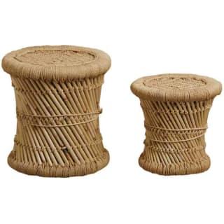 Tabouret en roseau naturel, assise en corde