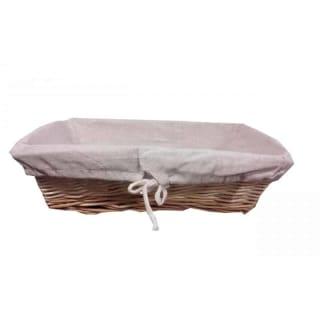 corbeille à pain rectangle, doublée tissu en toile de jute