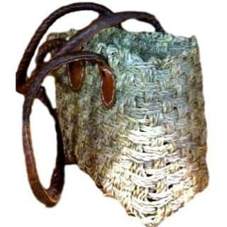 Cabas rectangulaire en herbe de mer bandoulières anses cuirs