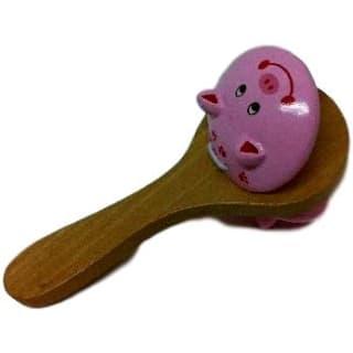 Castagnettes enfant, en bois, avec poignée, motif cochon
