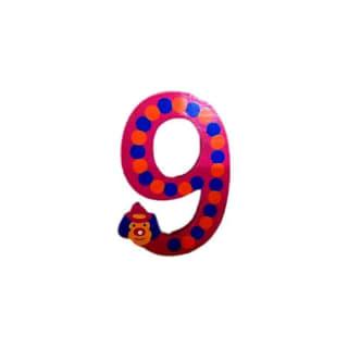 Chiffre 9 en bois rouge grand clown 7cm