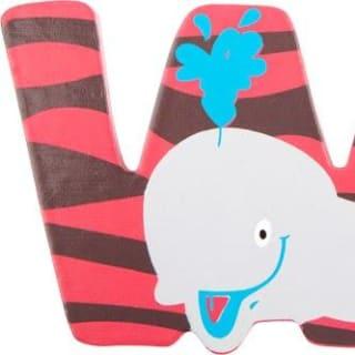 Lettre W en bois rose motif grand baleine 7cm