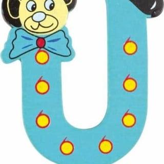 Lettre U en bois bleu motif petit ourson 6cm