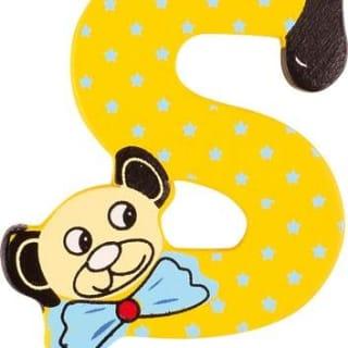 Lettre S en bois jaune motif petit ourson 6cm