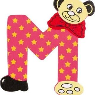 Lettre M en bois rouge motif petit ourson 6cm