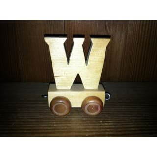 Lettre W du train, en bois
