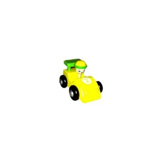 Voiture de course en bois, couleur jaune
