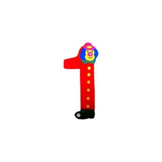 Chiffre 1 en bois rouge grand clown 7cm