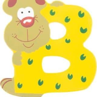 Lettre B en bois jaune motif grand ours 7cm