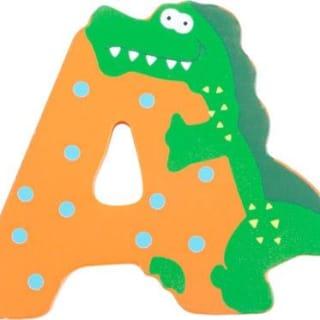 Lettre A rectangulaire en bois miel motif grand alligator