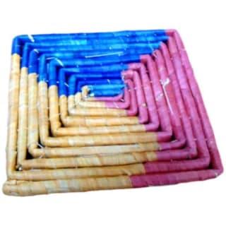 Dessous de plat carré en paille multicolore