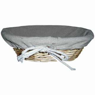 Corbeille à pain rectangulaire en osier doublée tissu