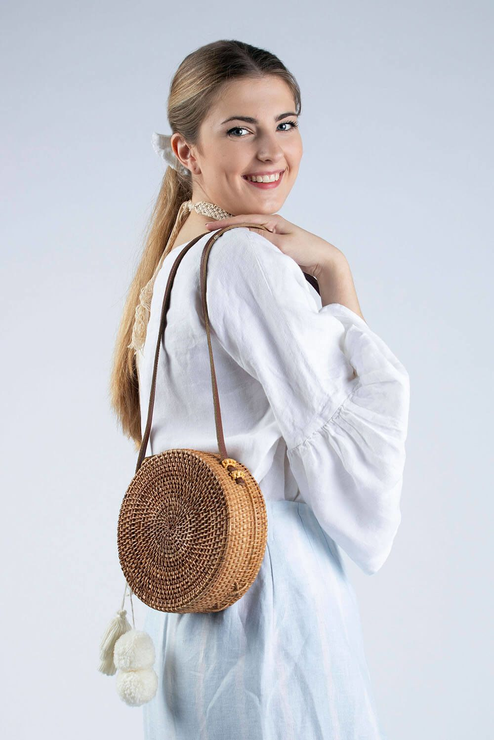 white linen blouse with ruffle sleeve