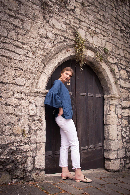 Navy linen blouse, Hannah, hand made