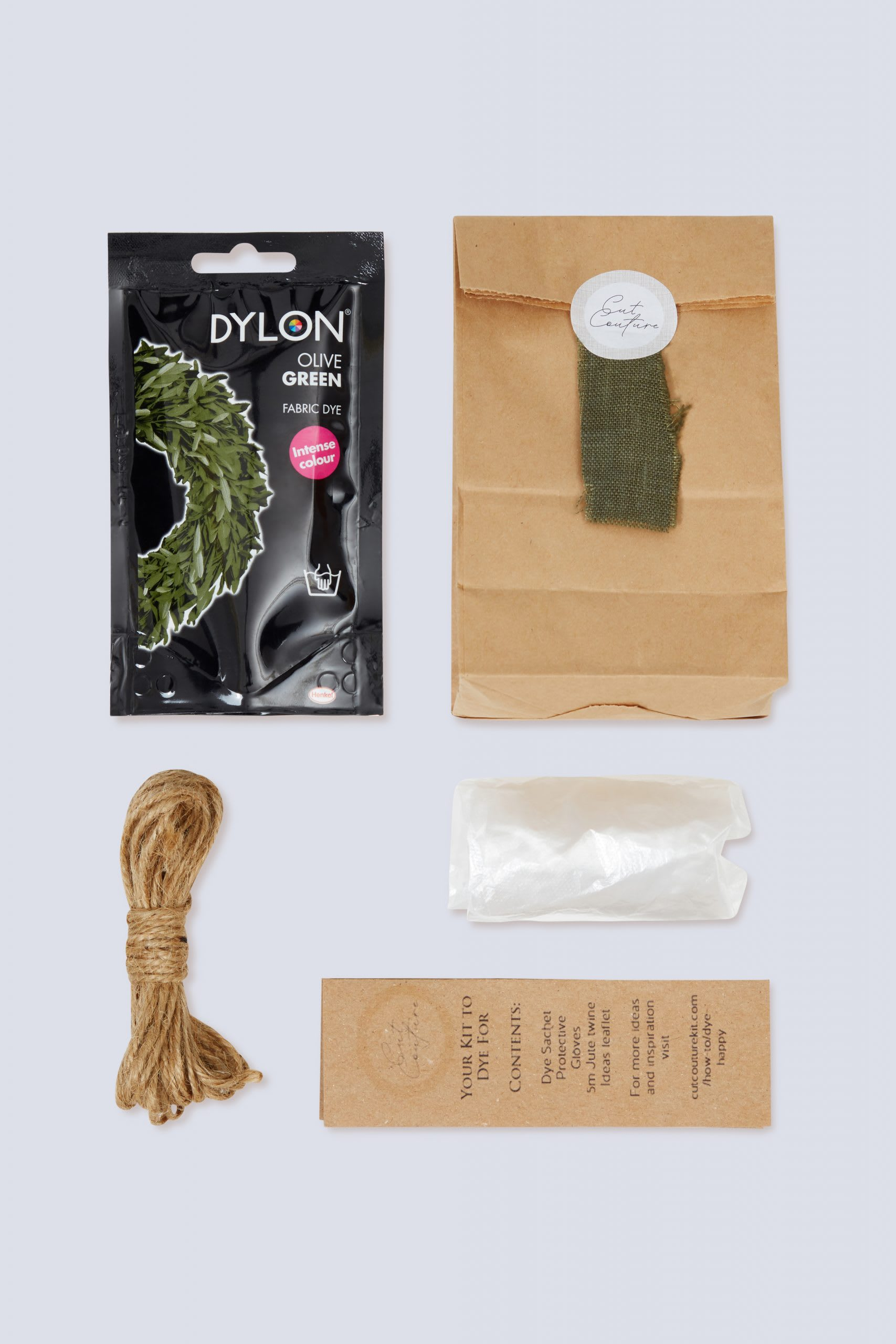 Olive green Dylon dye jute twine gloves information leaflet with bag and colour swatch