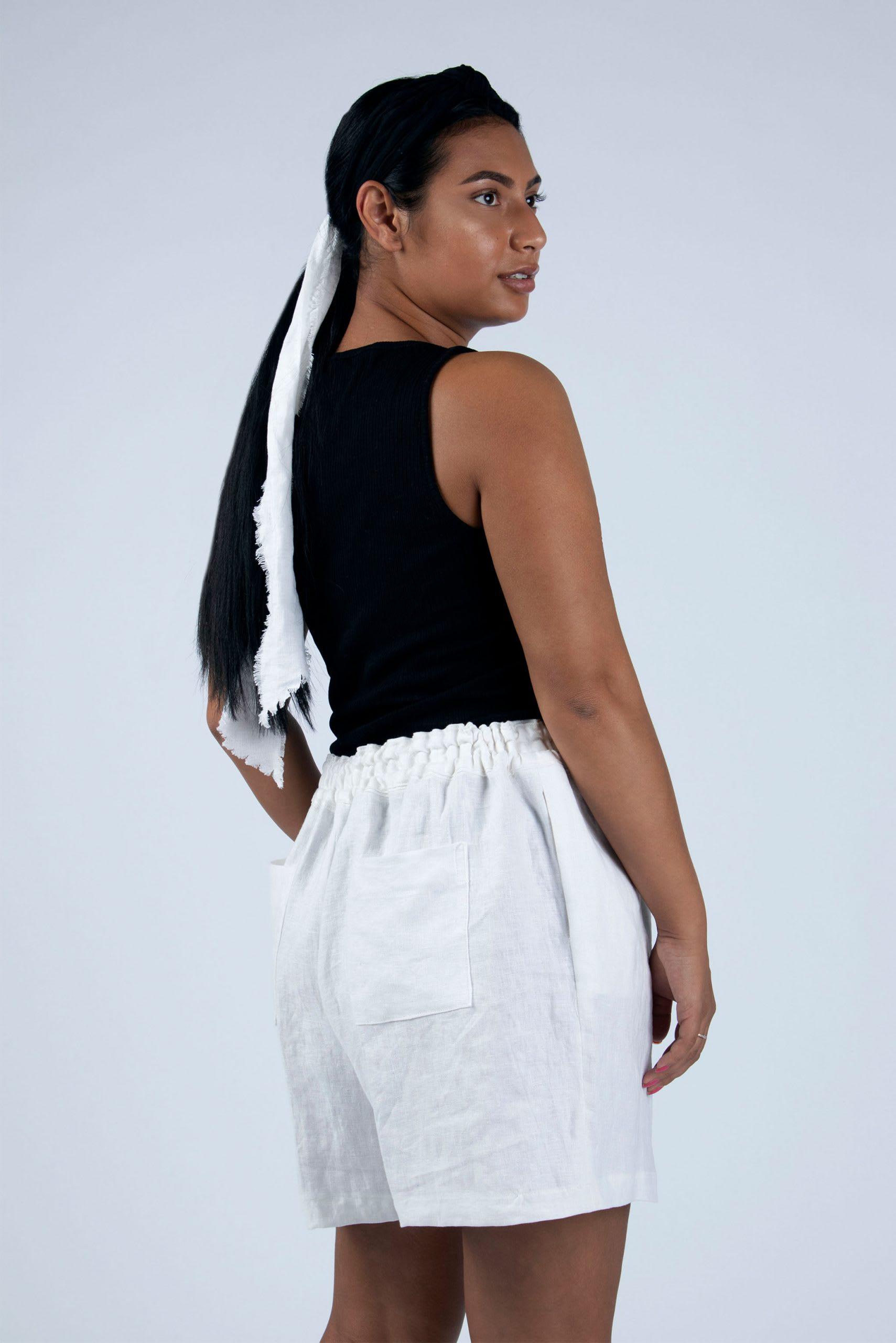 Kathy ready to sew linen shorts kit
